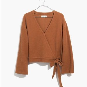 MADEWELL LONG SLEEVE WRAP TOP WITH BOW TIE